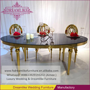 wedding dedicated furniture oval black glass top carved gold frame dining table