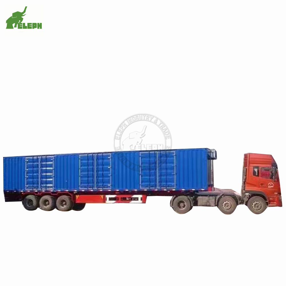 3 axles 40tons Van Type Coal Bulk Cargo Transport Grain Bin Trailer