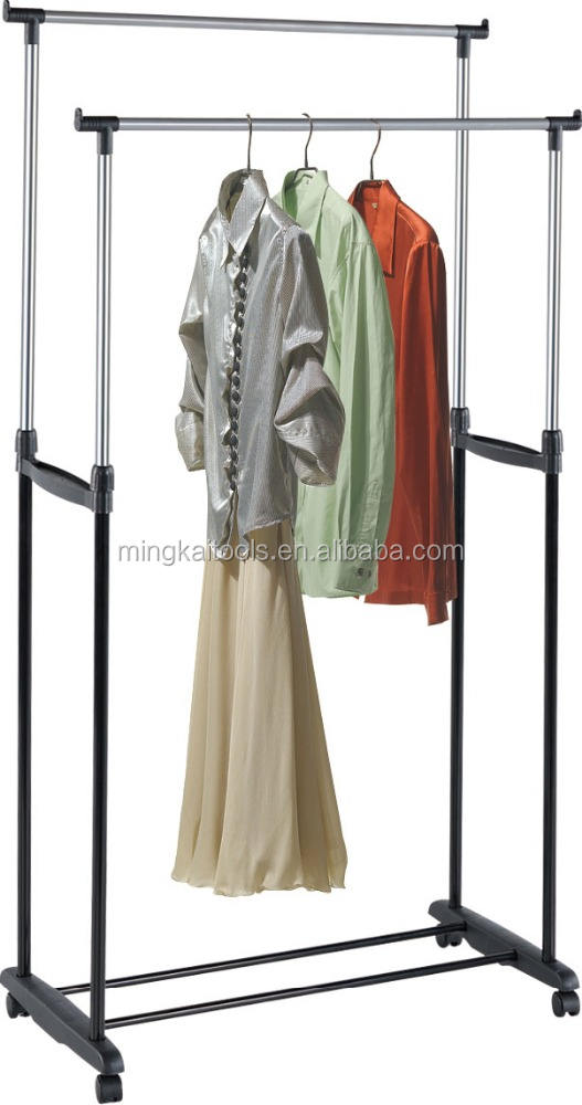 Newly Double Clothes Shelving Garment Racking Mobile MK2060