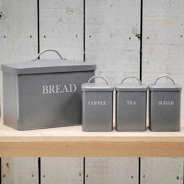 Home kitchen decoration airtight galvanized metal tea caddies bread box sugar coffee flour bread canister sets