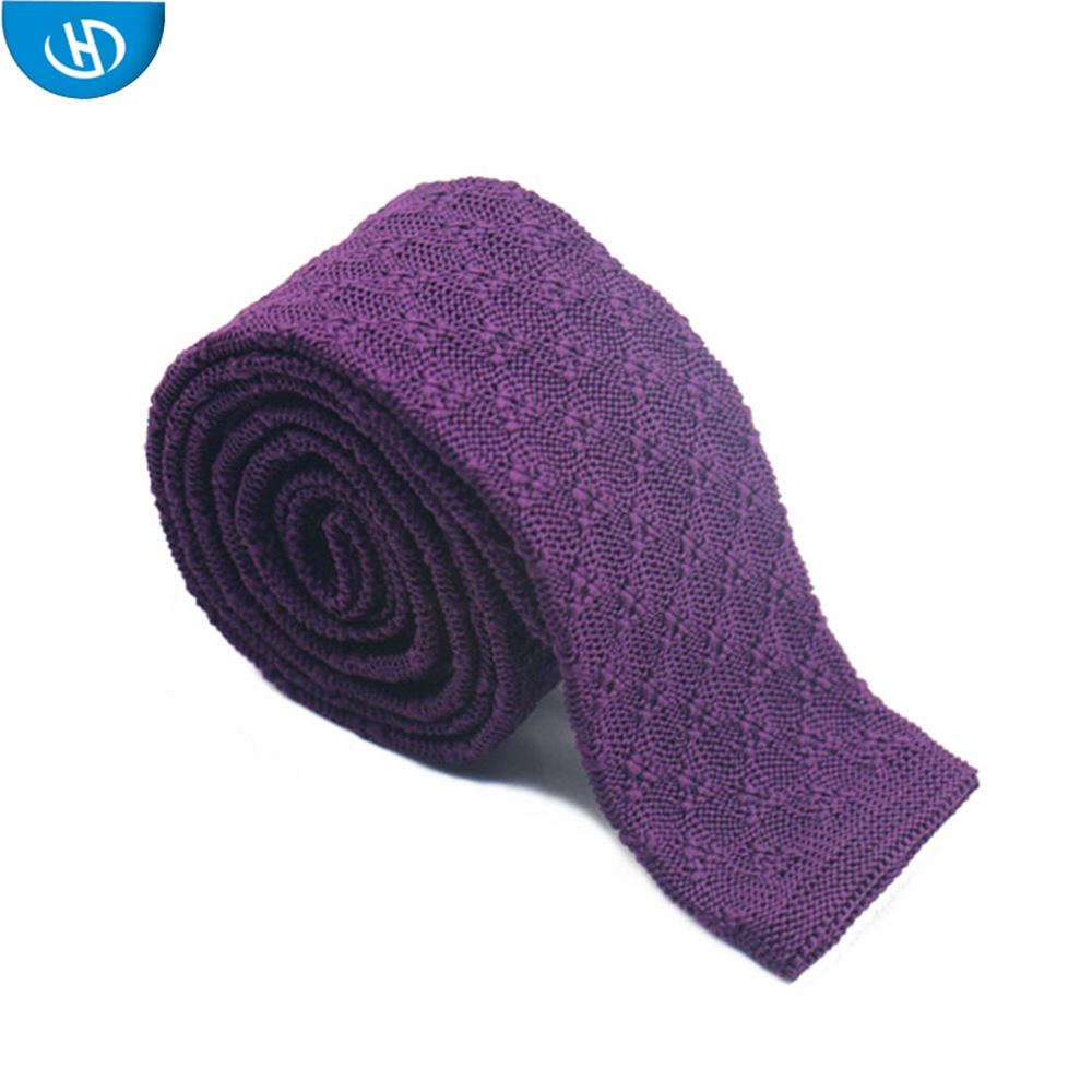 Nice Pattern Solid Color Polyester Knitted Ladys Necktie
