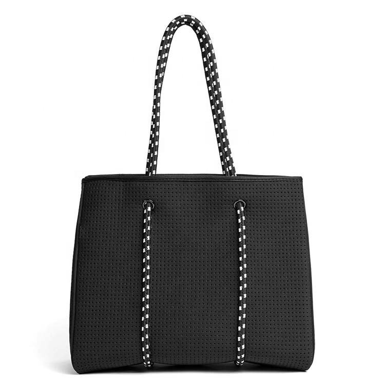 Multipurpose black perforated Neoprene Womens Tote beach bag with inner zipper pocket