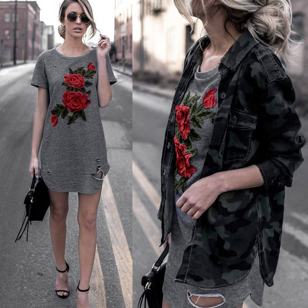 B30242A 2017 Hot summer sexy wanita floral bordir kasual t shirt dress