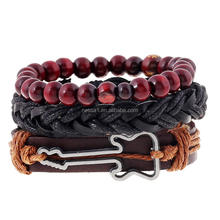 Fashionable Bead Guitar Design Leather Bead Bracelet PK-0107
