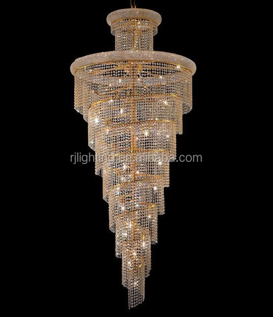 Made in china Asfour k9 crystal beaded spiral long chandelier for villa