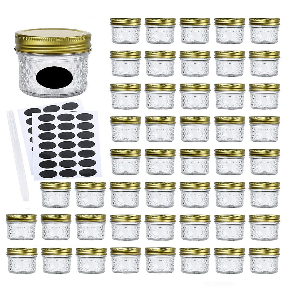 4oz Canning Jars Jelly Jars With Regular Lids and Bands AND CHALK pen