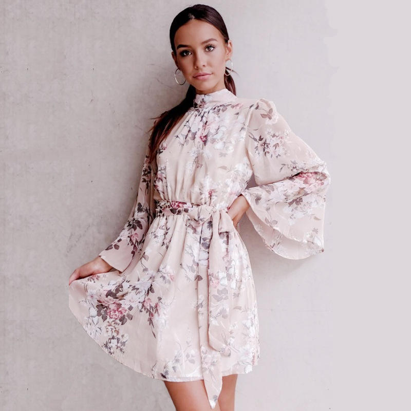 2019 European spring new long-sleeved dress couture thin pleated chiffon Bohemian dress