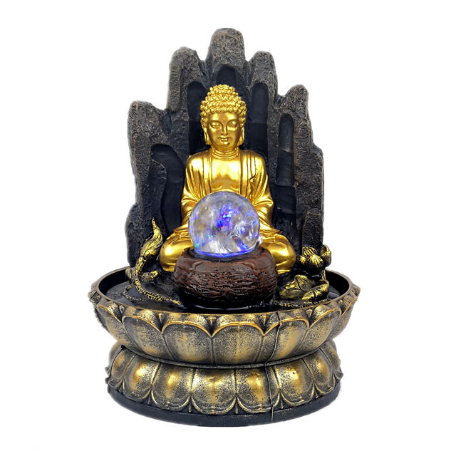 Resin Buddha fountain home decoration crafts indoor religious water fountain