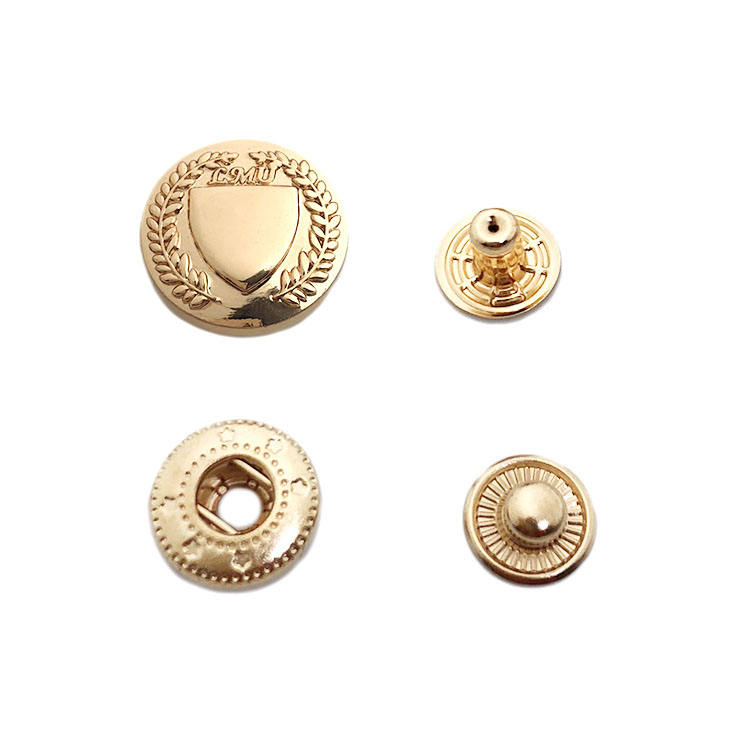 European standard gold plated custom logo emboss metal snap press button