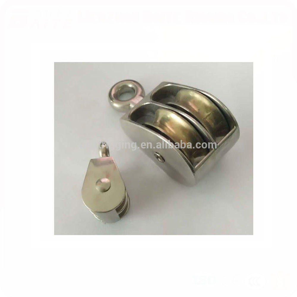 Zinc Alloy Galvanized Double-wheel belt pulley with round eye in rigging snap hook manufacturer