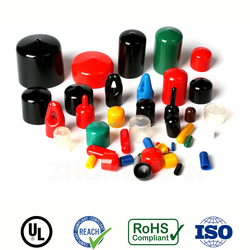 1/2 inch colorful PVC soft threaded end caps with ROSH compliant