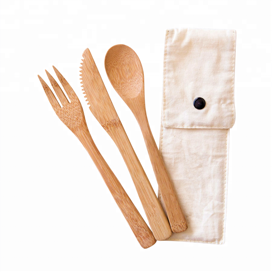 Custom Design Your Own cutlery Biodegradable Bamboo Cutlery Travel Set Bamboo Travel Utensils