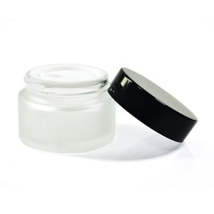 small cosmetic cream round frosted clear 30ml 1oz glass jar with black sliver aluminum screw top lid