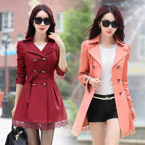 Women Spring Autumn Elegant Stylish Long Coats Plus Size Belted Thin Ladies Red Trench Coat