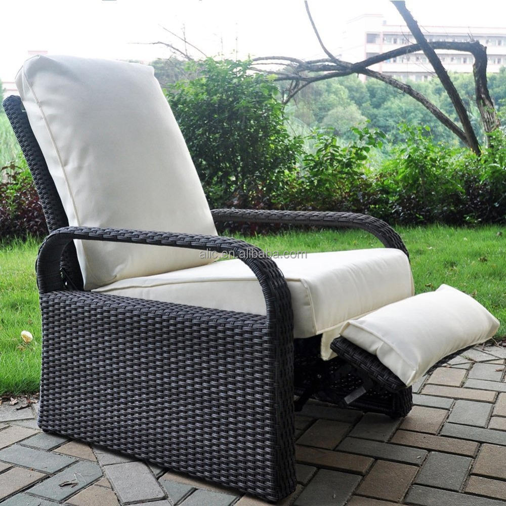 Outdoor Resin Wicker Patio Recliner Chair with Cushions, ART TO REAL Patio Furniture Auto Adjustable Rattan Sofa