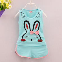 Kids clothing set Rabbit cartoon two pieces vest pants baby summer clothes for children