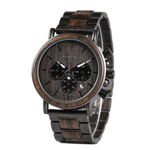 BOBO BIRD hot sale Classic handmade man wood watch logo with Stopwatch function Timepieces Chronograph