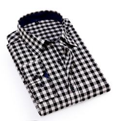 100% Cotton Check Casual Flannel  Long Sleeve Man Plaid Shir