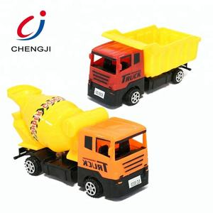 Plastic pull back cartoon engineering truck friction vehicle small toy cars