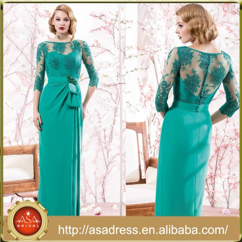 VL145 Floor-Length Green Mother of The Bride Dresses Long Appliqued 3/4 Sleeve Robe Mere de La Mariee