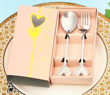 Love heart wedding favors return gift birthday party supplies spoon and fork 2pcs set