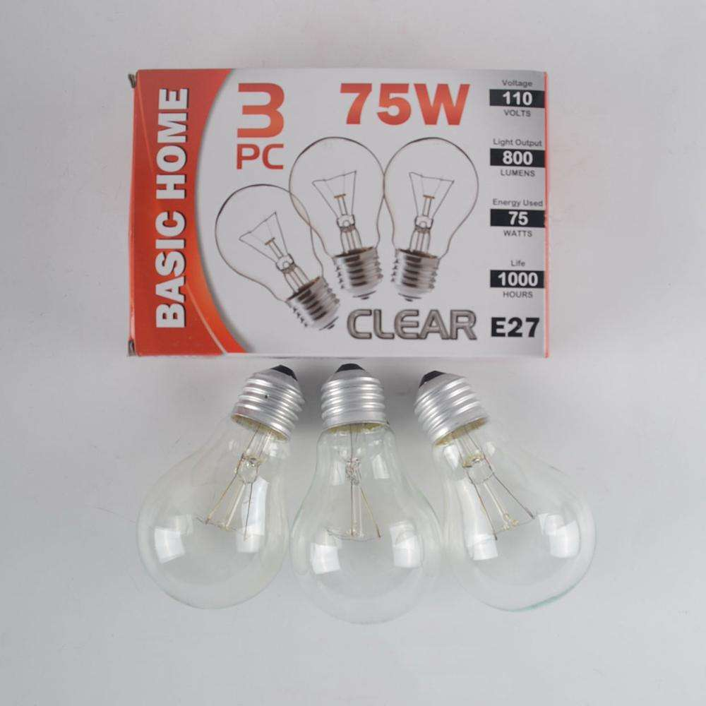 Household 3PK 75W 110V Clear Light Bulb