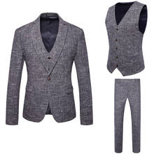 Hot Sell Men 3 Piece Slim Fit Classic One Button Business Suits Set