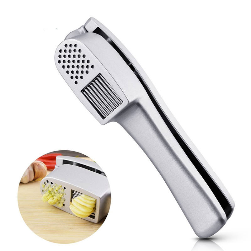 2 in 1 Keuken Gadget Aluminium knoflookpers rocker squeezer Crusher Mincer Molen Chopper Slicer