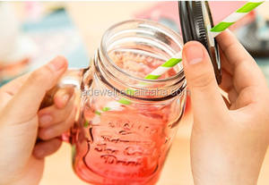 350ml 480ml gradient color cheap empty glass water cup mason jar water bottle for drink