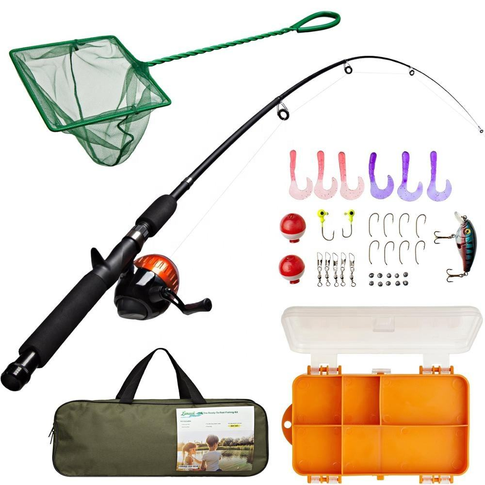 Kids Fishing Pole and Tackle Box Beginner Guide Rod and Reel Kit for Boys Girls Youth