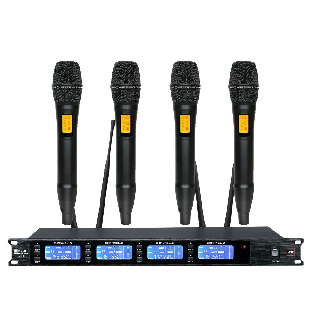 KU-904W KEBIT UHF 4 Channels Wireless system with Lavalie/headset outdoor performance wireless microphone