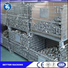 Galvanized Collapsible Wire Mesh Metal Storage Cage With Wheels
