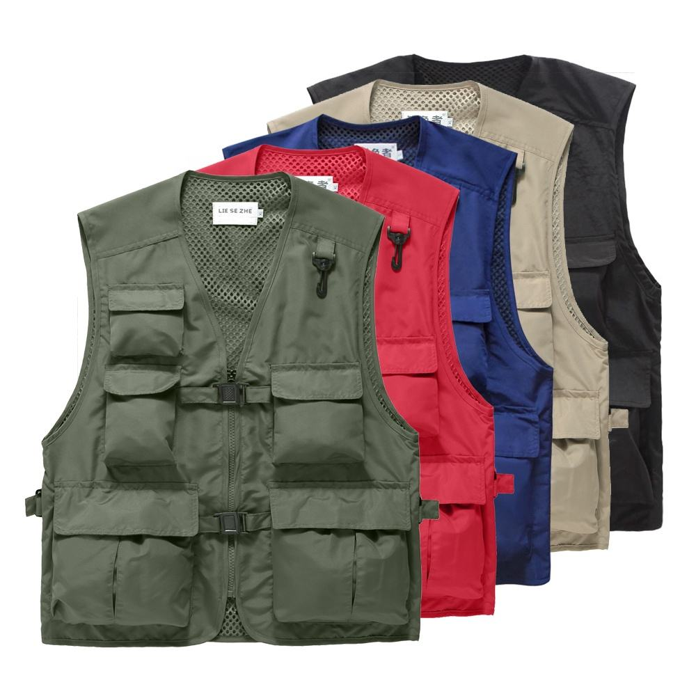 Men's Multi Pockets Cargoes Fisherman Vest Waistcoat For fishing shooting Hiking Journalist Photography Camping Safari Vest