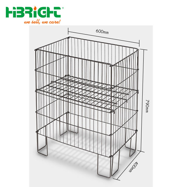 Retail Collapsible Wire Floor Promotional Display Dump Bin For Shop