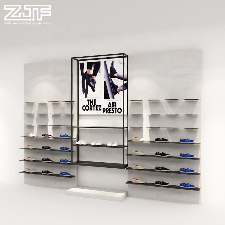 Sports shoes store fixtures wall mounted wood kids shoe showroom displays