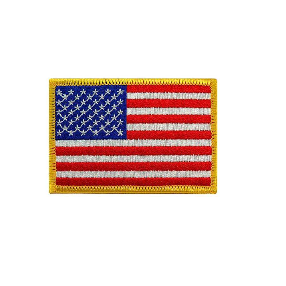 American Custom Army Military Rectangle Embroidery Badges Patches Small Iron On Usa Flag Patch For Clothes