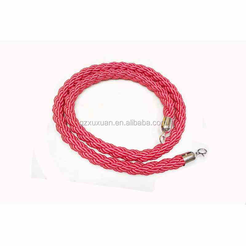 Red Twisted Stanchion Rope with Crowd Control Guidance Stanchion