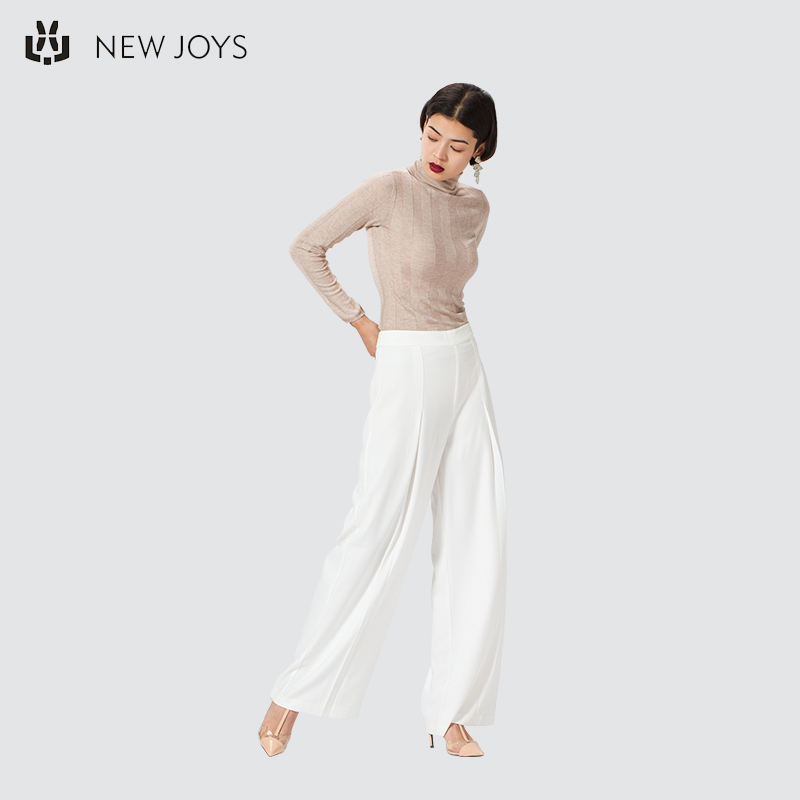 Latest Design White Women's Cotton Pants Wholesale Loose Long Pants