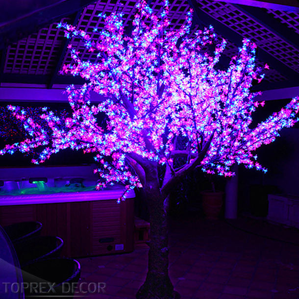 Professional Custom Christmas Lights 2.5 M Outdoor Artificial Led White Cherry Blossom Tree Light