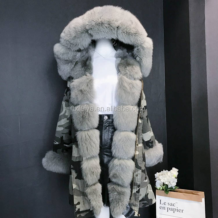 2017 Camouflage Real Fox Fur Parka Coat Grey Women Hooded Fur Parka