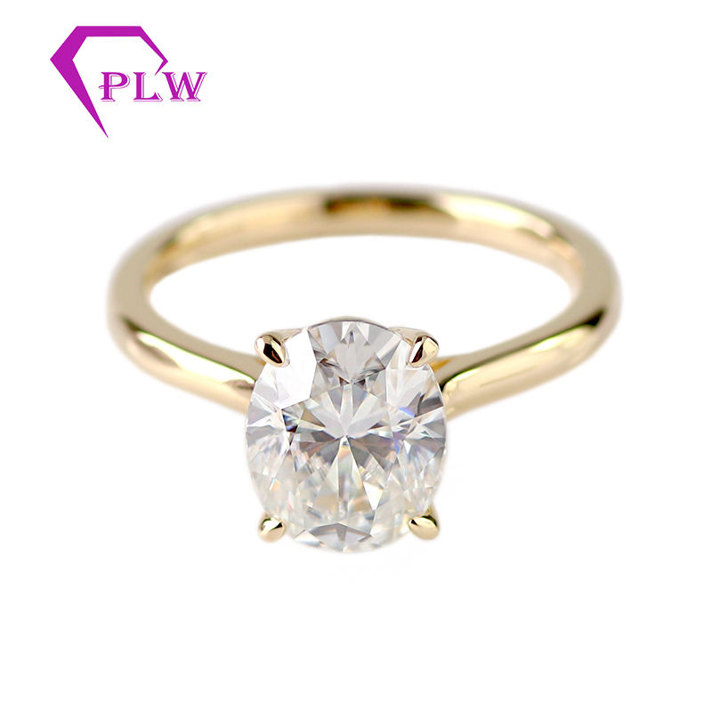 AU750 genuine yellow gold 8x10mm oval brilliant cut moissanite solitaire engagement ring
