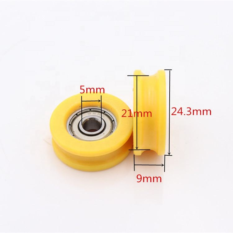 Plastic nylon U groove 5*24*9mm size roller 625 zz ball bearing roller wheel for windows and door