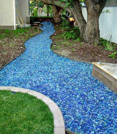 Natural garden glass pebbles with nice color