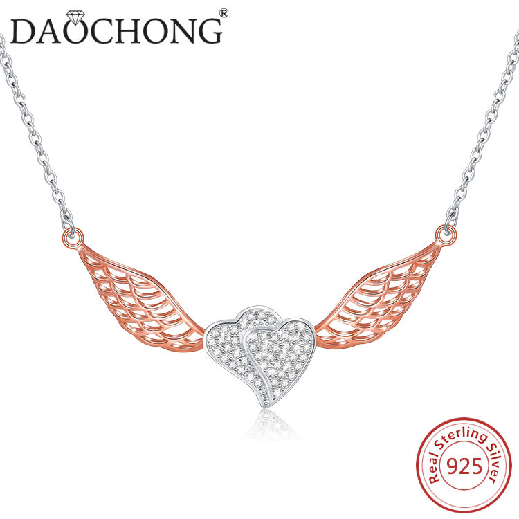 Daochong JEWELRY S925 Sterling Silver wings heart Necklace cz rose gold pendant