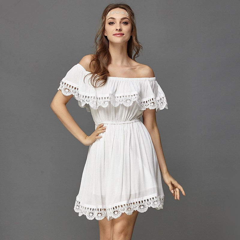 New Summer Style Women White Lace Stitching Dress Off Shoulder Strapless Sexy Dress Slash Neck Mini Dresses Vestido