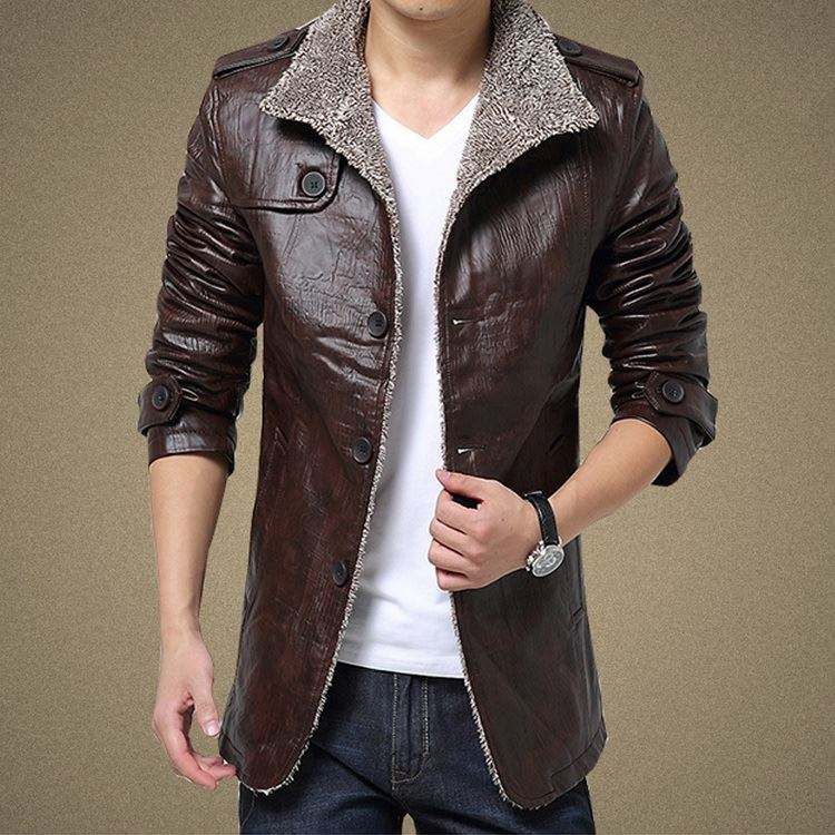 Winter men 's leather jacket / self - cultivation collar young men' s jacket leather