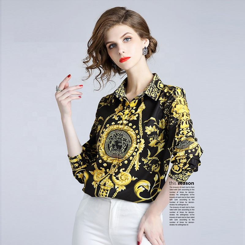 Europe And The United States Real - Time Collection Lapel Collar Waist Spot Joker Printing Shirt