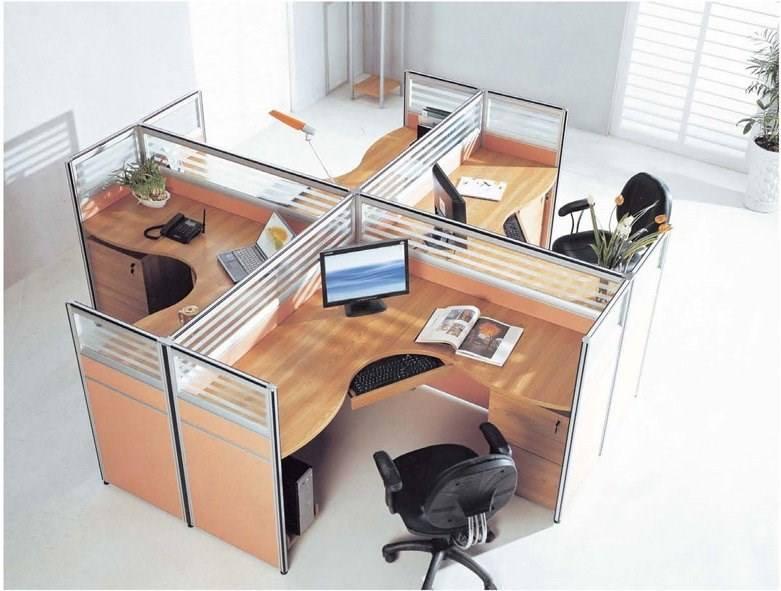 Moderna administración de oficina partición estación de trabajo con paneles de vidrio