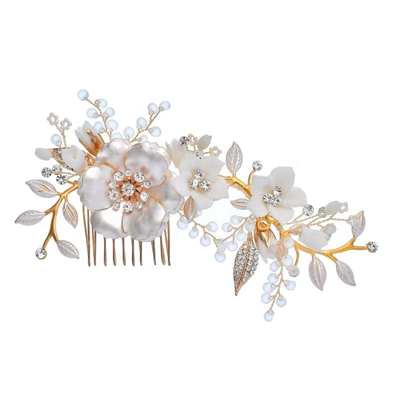 Handmade White Ceramic Flowers Wedding Hair Jewelry Accessories Bridal Gold Leaf Flower Hairband Hair Combs Wedding Hairpin
