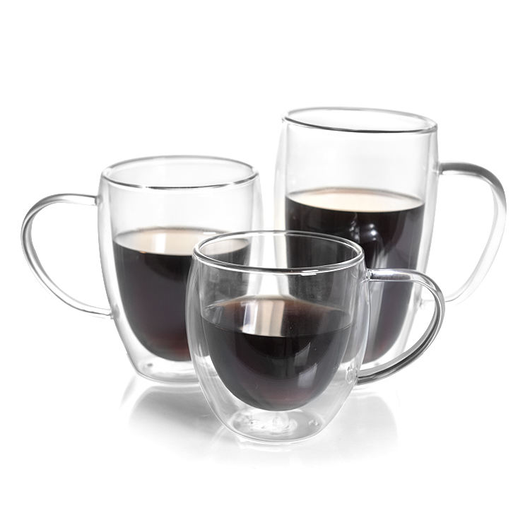 250ml /350ML/450ML Hand-made Double Wall Glass Coffee Mug Tea Cups Thermal Espresso glasses, borosilicate glass cup.